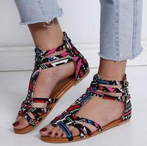 Shoes - Brand New Peep Top Flat Sandal w/ Strap